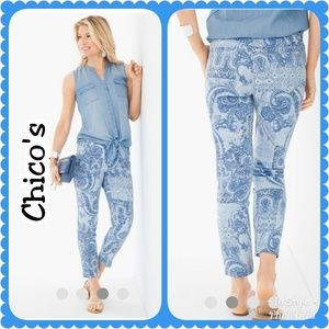Chico's Paisely Patchwork Girlfriend Ankle Jeans